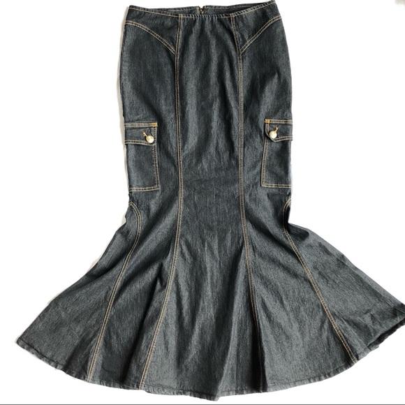 e1b19703ea907 Bisou Bisou Skirts | Dark Denim Mermaid Long Skirt 6 Euc | Poshmark